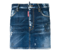 distressed paint spattered mini skirt