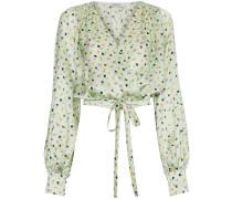 floral print wrap silk blouse