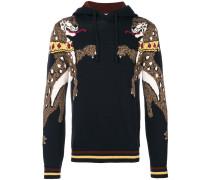 leopard intarsia knit hoodie