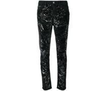 Boyfriend-Jeans mit Pailletten