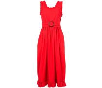 frill trim belted waist dress