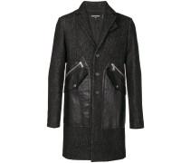 Einreihiger Mantel mit Ledertaschen