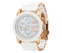 Runde Armbanduhr mit goldenen Details