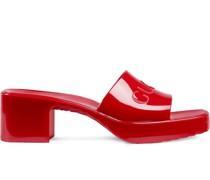 Flache Sandalen mit Logo