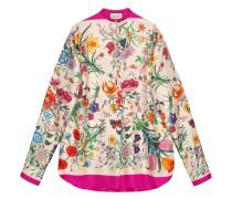 Oversized-Hemd mit Blumen-Print