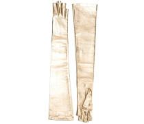 Lange Lederhandschuhe im Metallic-Look