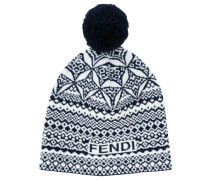 embroidered pom-pom beanie hat