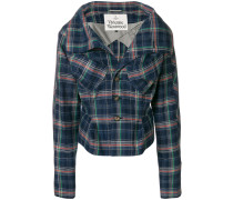 fitted check jacket