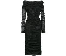 Gepunktetes Kleid mit Raffungen
