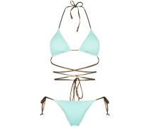 Green Miami tie detail bikini set