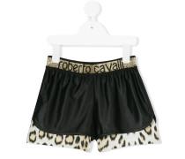leopard print trim shorts