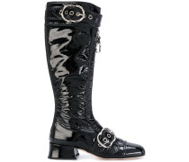 buckled zip front boots