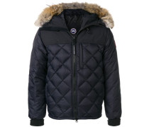 fur trim quilted jacket