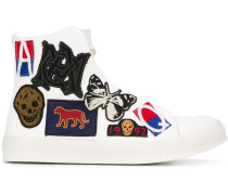 patch detailed hi-top sneakers