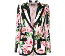 striped rose print blazer