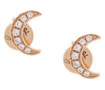 18kt rose gold Crescent Moon diamond studs
