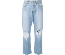 Distressed-Jeans mit Logo