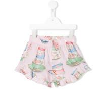 tea cup print shorts