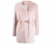 belted reversible shearling coat