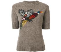Pullover mit Intarsien-Vogelmotiv