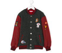 knitted panel bomber jacket