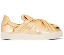 Sneakers in Metallic-Optik mit Schleife