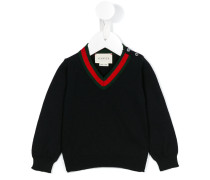 Pullover mit V-Ausschnitt - kids - Baumwolle