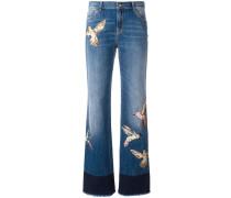 Gerade Jeans mit Vogel-Patches