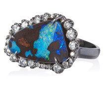 18k white gold and opal ring