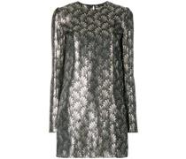 metallic embroidered mini dress