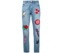 CroppedJeans mit Stickerei