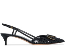 VLogo Broderie-Anglaise leather pumps