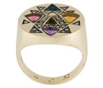 18kt 'Devi' Weißgoldring mit Turmalinen und Diamanten