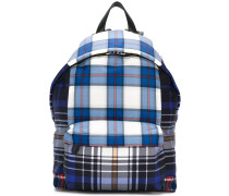 coated canvas checked backpack