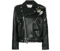 tattoo embroidered biker jacket