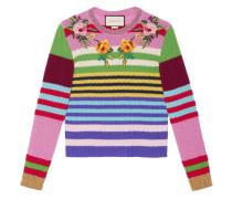 Gestreifter Pullover mit Stickerei - women