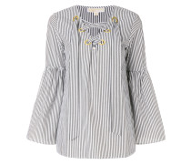 striped bell sleeve tunic top