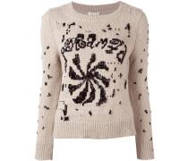 Verzierter Pullover mit Rundhalsausschnitt