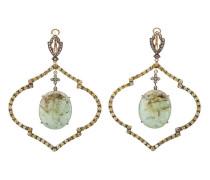 18kt Gelbgoldohrringe mit Smaragd und Diamanten