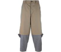 overlay detail straight leg trousers