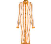 vertical-stripe midi shirtdress