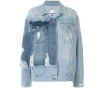 distressed panelled denim jacket