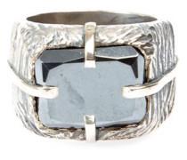 'Sawed Stone' Ring aus Silber