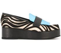Flatform-Loafer mit Zebra-Print