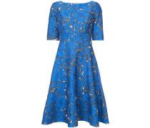 Florales Jacquard-Kleid mit ausgestelltem Schnitt