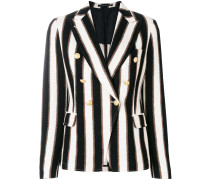 striped button blazer