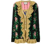 Intarsien-Cardigan mit floraler Stickerei