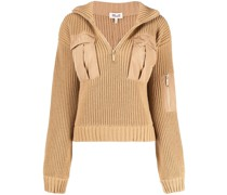 chunky-knit zipped jumper