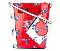 floral print panelled shoulder bag