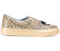 Slip-On-Sneakers mit Glitzereffekt